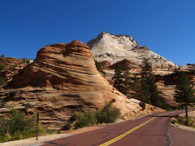zion national park utah usa red road scenery tourist attraction erosion red rocks